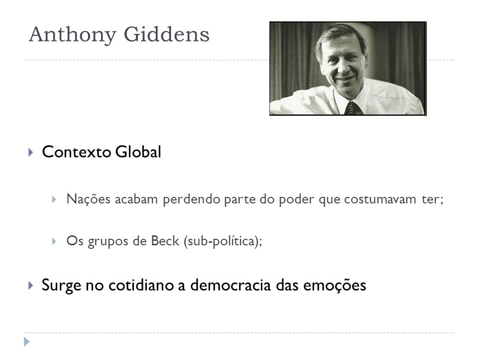 Anthony Giddens Contexto Global