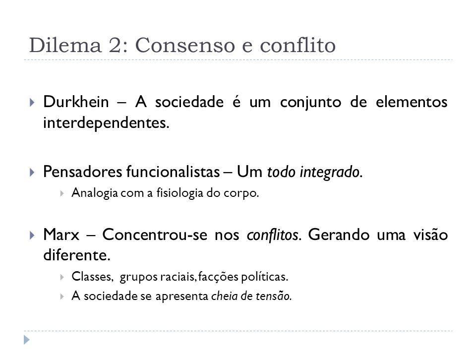 Dilema 2: Consenso e conflito