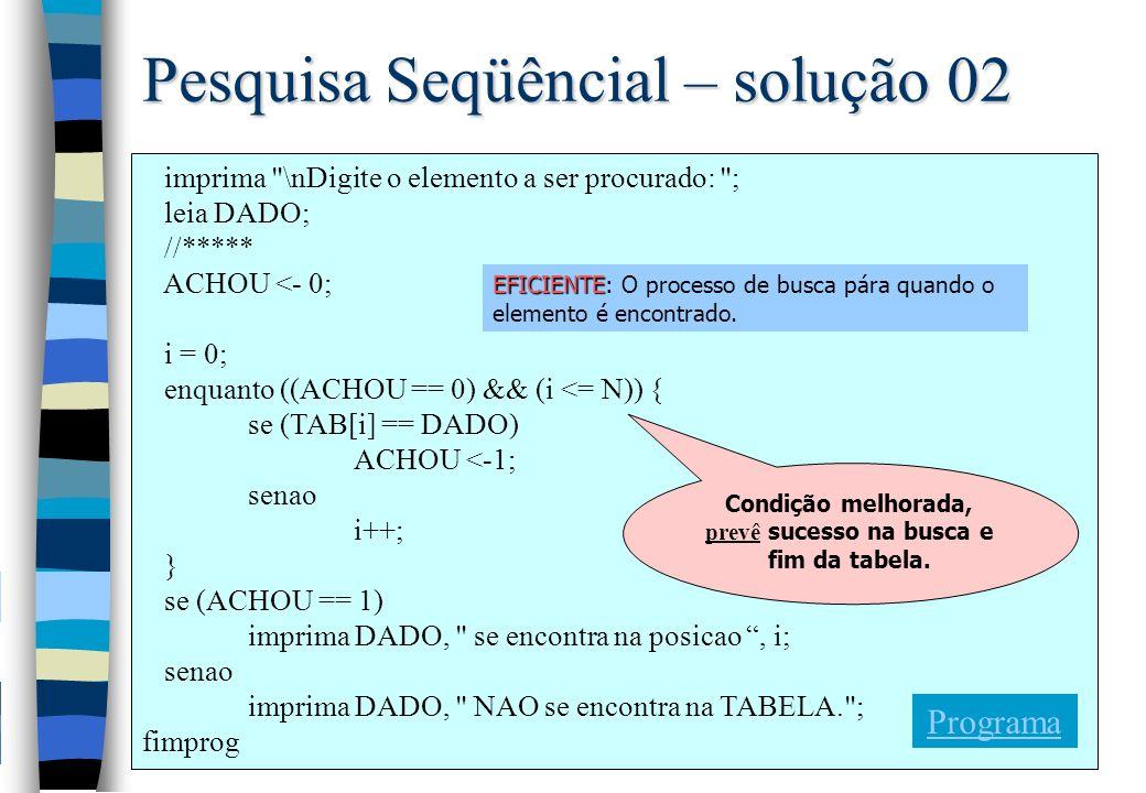 Pesquisa Seqüêncial – solução 02