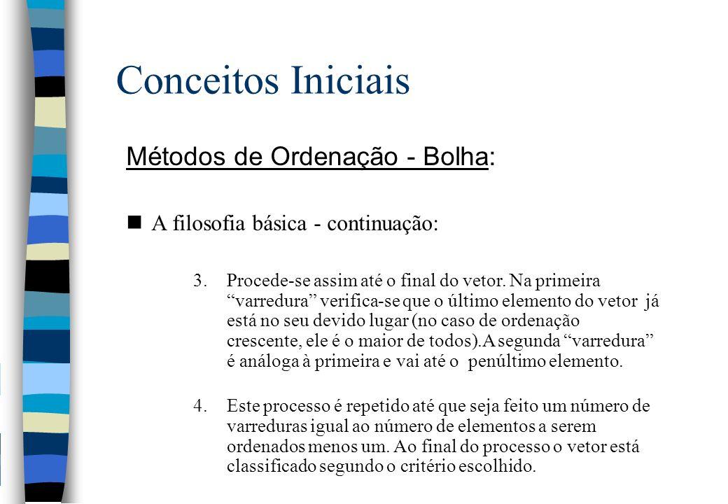 Conceitos Iniciais Métodos de Ordenação - Bolha: