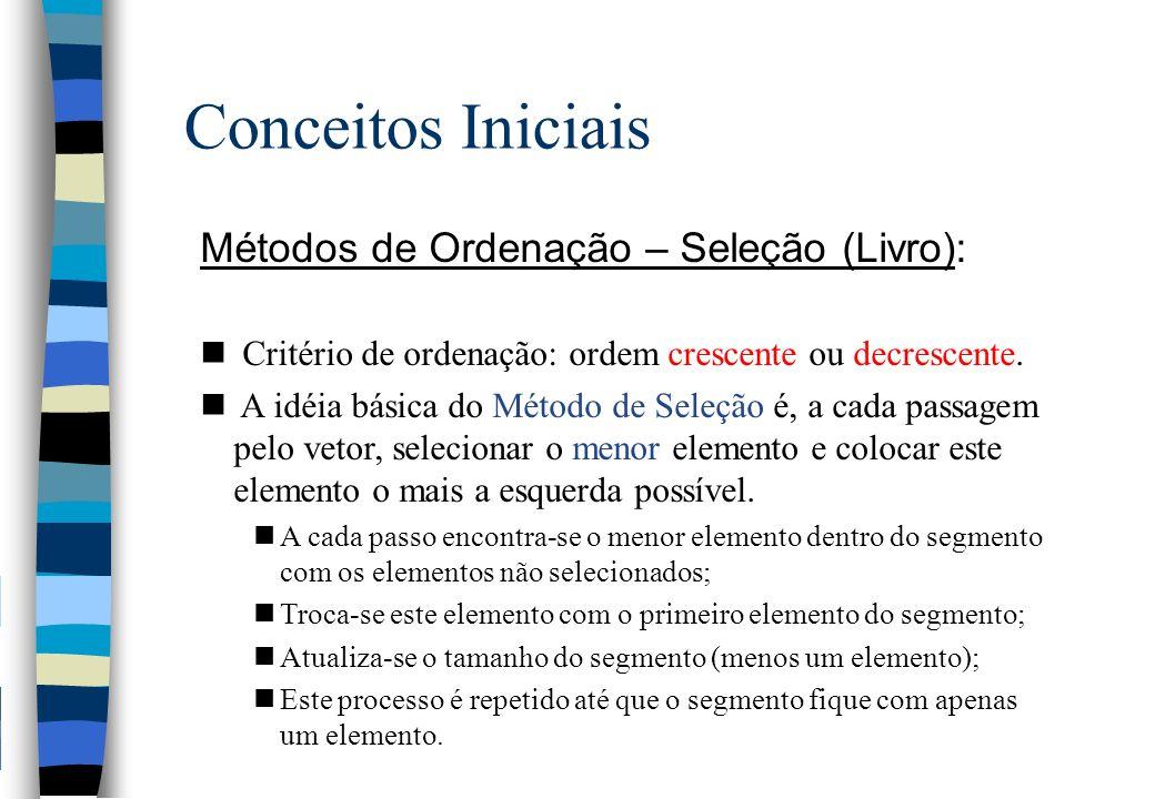 Conceitos Iniciais Métodos de Ordenação – Seleção (Livro):