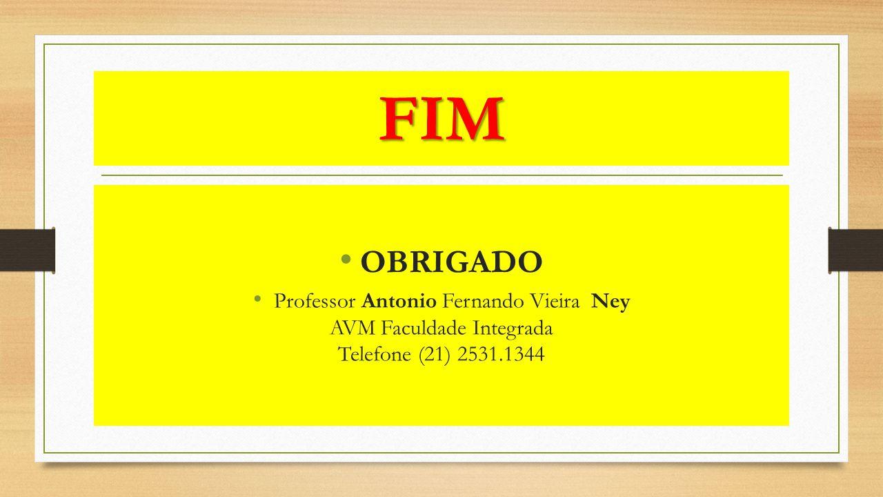 FIM OBRIGADO Professor Antonio Fernando Vieira Ney