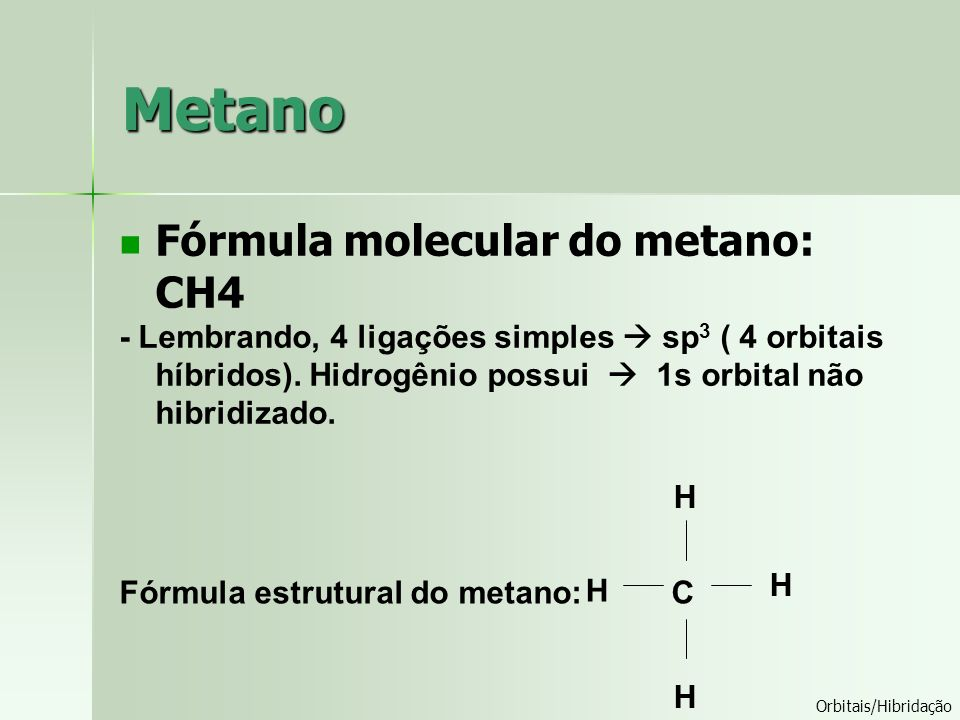 Metano Fórmula molecular do metano: CH4