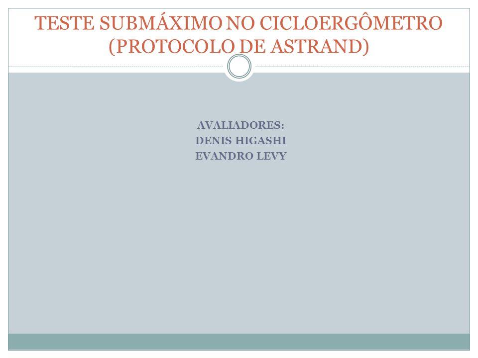 TESTE SUBMÁXIMO NO CICLOERGÔMETRO (PROTOCOLO DE ASTRAND)