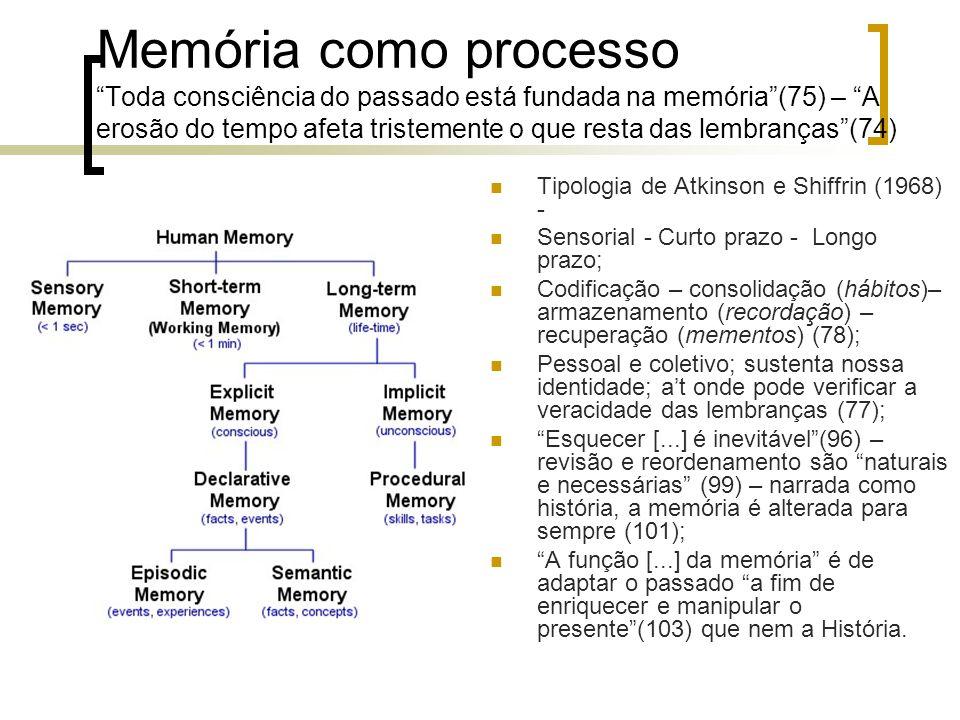 Memória como processo Toda consciência do passado está fundada na memória (75) – A erosão do tempo afeta tristemente o que resta das lembranças (74)