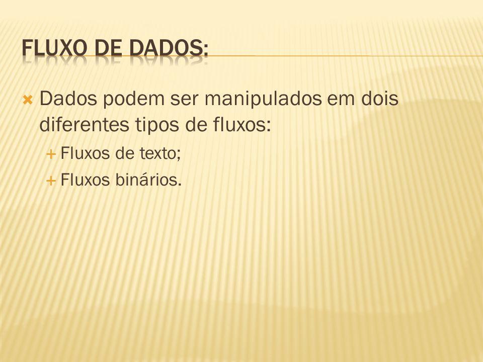 Fluxo de dados: Dados podem ser manipulados em dois diferentes tipos de fluxos: Fluxos de texto; Fluxos binários.