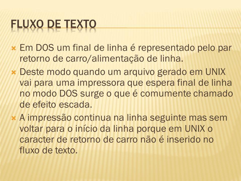 Fluxo de texto Em DOS um final de linha é representado pelo par retorno de carro/alimentação de linha.