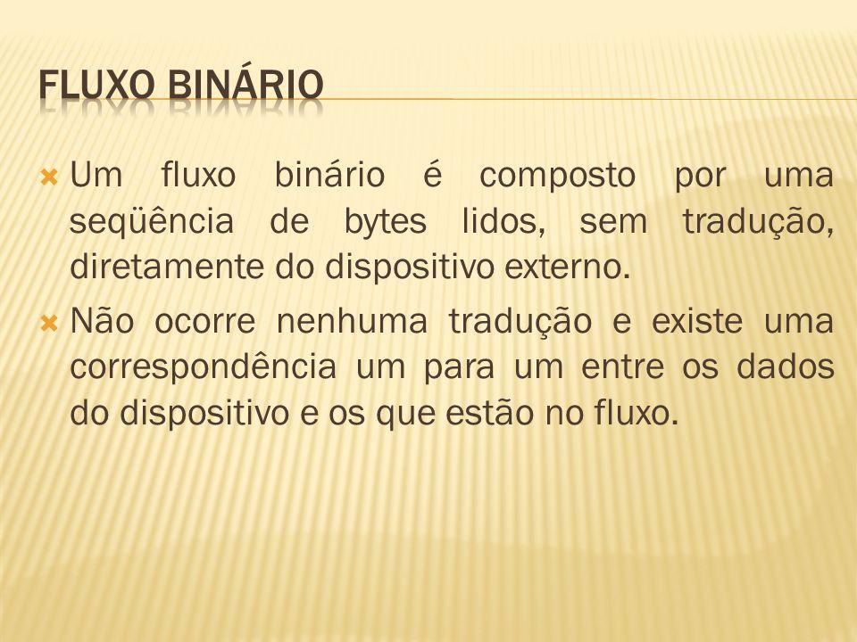 Fluxo binário Um fluxo binário é composto por uma seqüência de bytes lidos, sem tradução, diretamente do dispositivo externo.