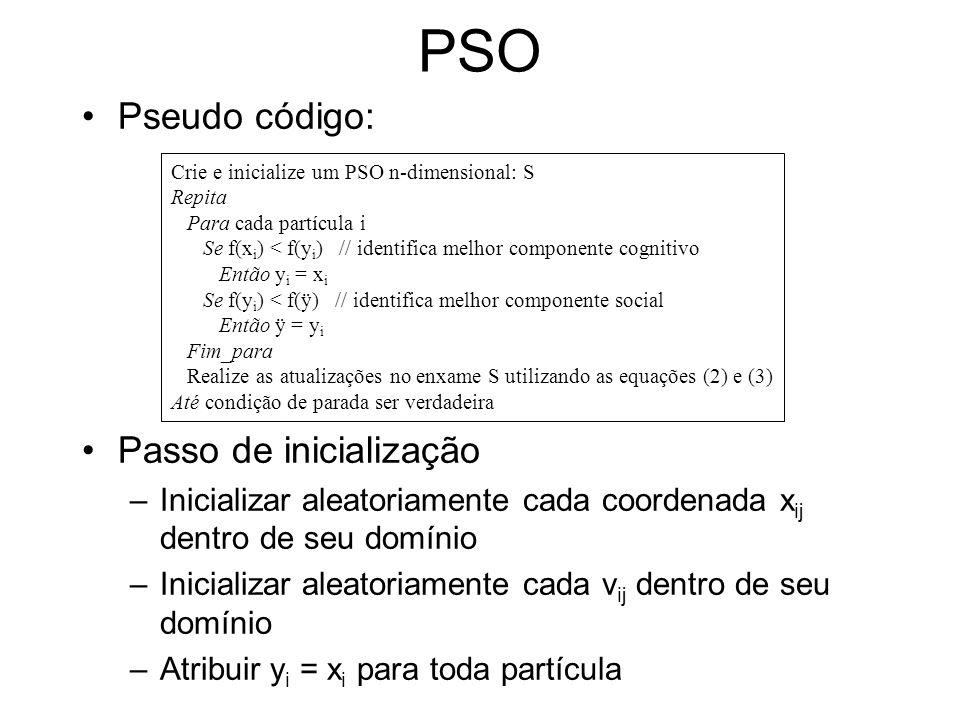PSO Pseudo código: Passo de inicialização
