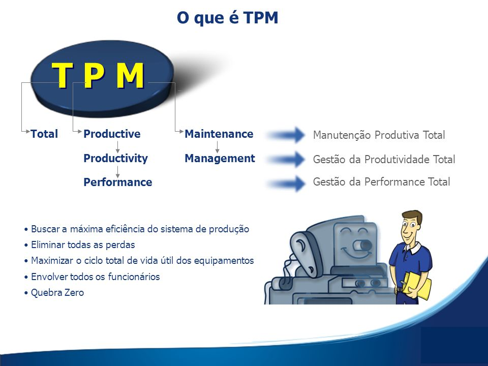 T P M O que é TPM Total Productive Maintenance