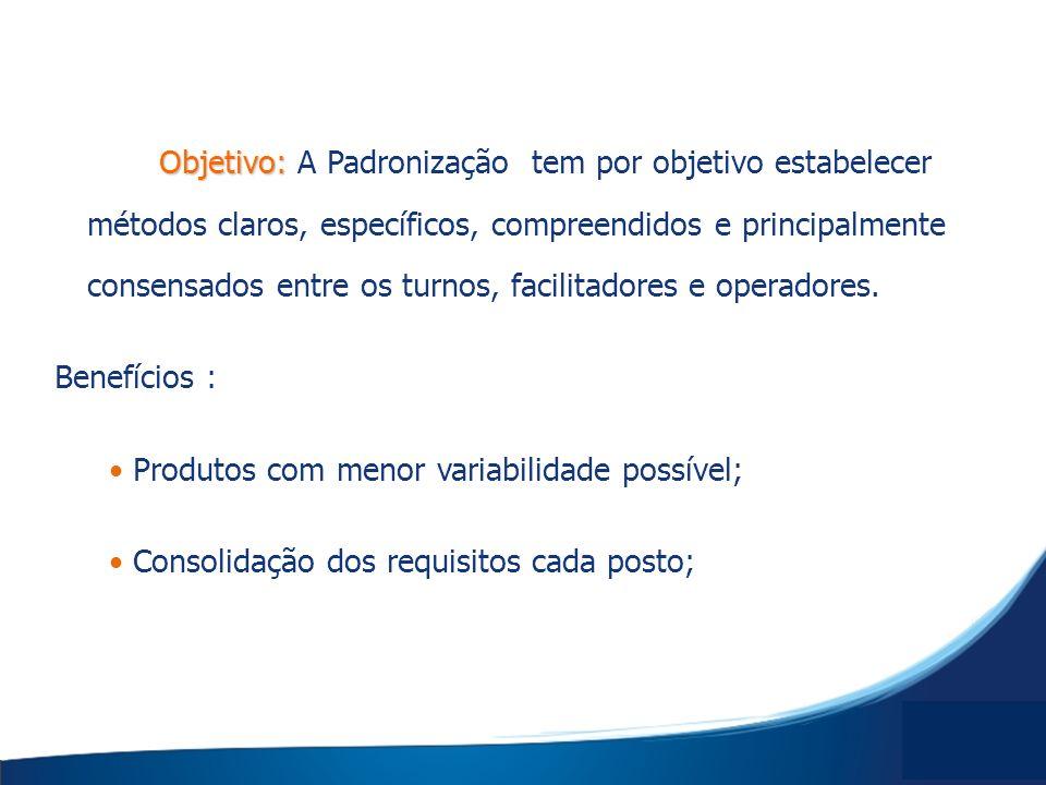 Objetivo: A Padronização tem por objetivo estabelecer métodos claros, específicos, compreendidos e principalmente consensados entre os turnos, facilitadores e operadores.