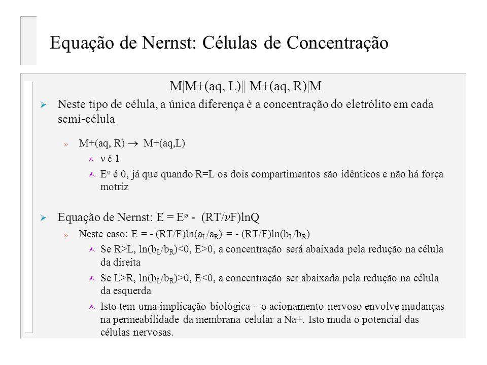 Equação de Nernst: Células de Concentração