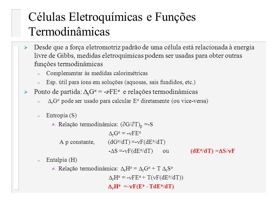 Células Eletroquímicas e Funções Termodinâmicas
