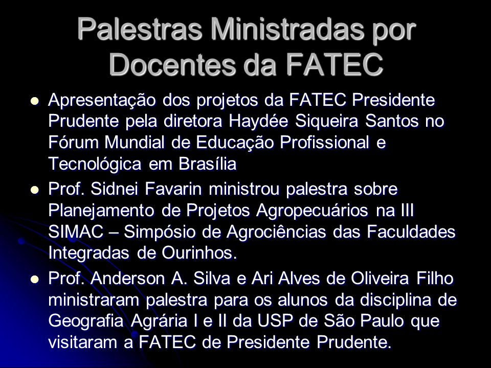 Palestras Ministradas por Docentes da FATEC
