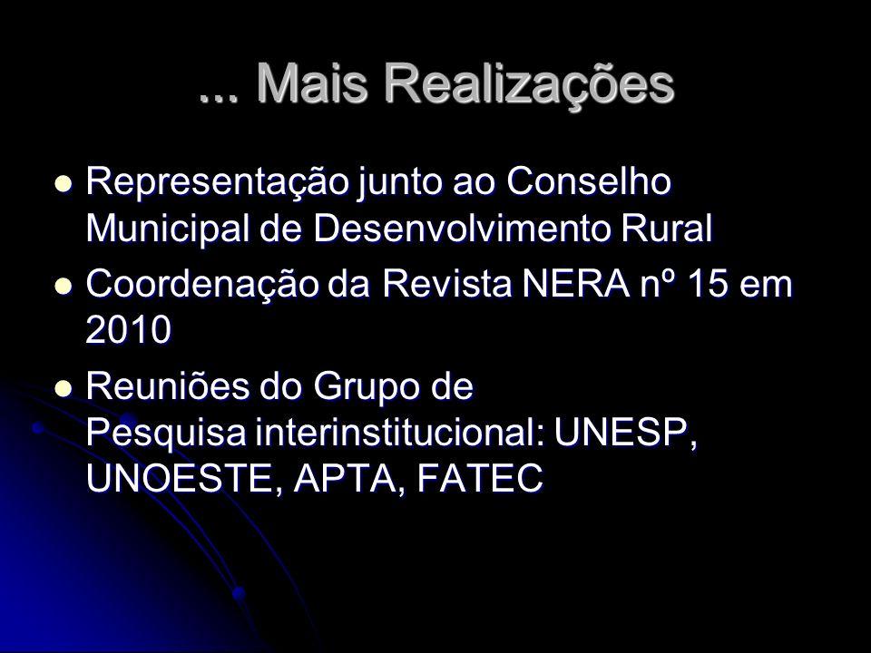 ... Mais Realizações Representação junto ao Conselho Municipal de Desenvolvimento Rural. Coordenação da Revista NERA nº 15 em 2010.