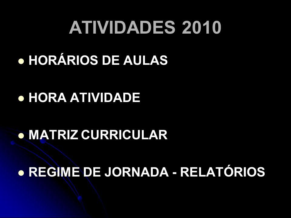 ATIVIDADES 2010 HORÁRIOS DE AULAS HORA ATIVIDADE MATRIZ CURRICULAR