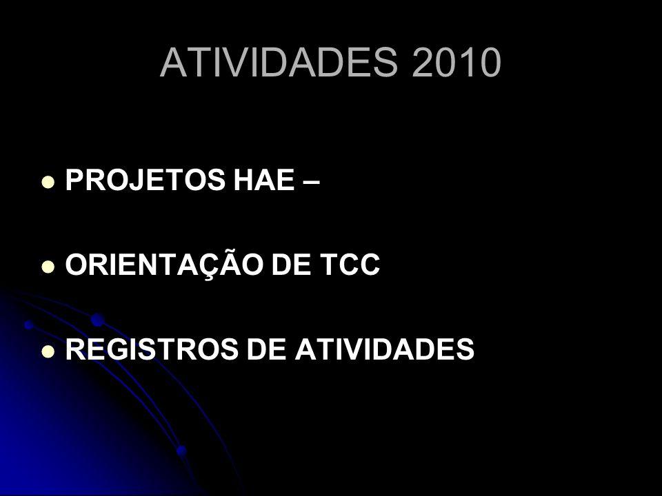 ATIVIDADES 2010 PROJETOS HAE – ORIENTAÇÃO DE TCC