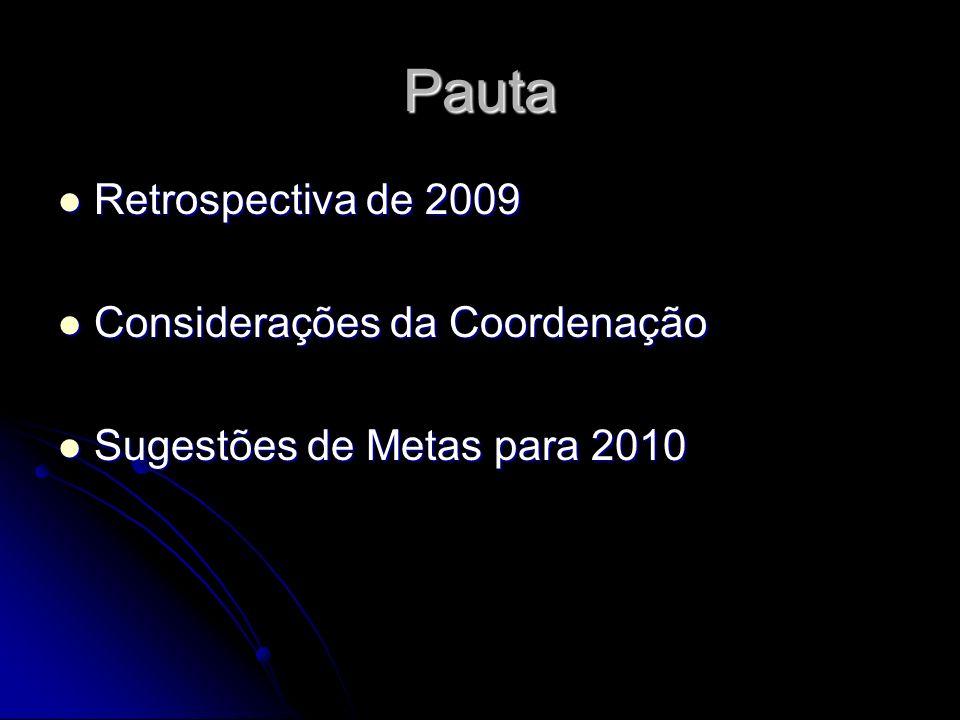 Pauta Retrospectiva de 2009 Considerações da Coordenação