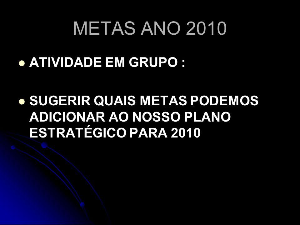 METAS ANO 2010 ATIVIDADE EM GRUPO :