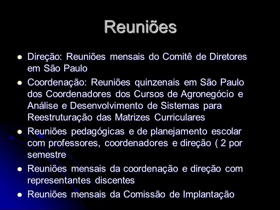 Reuniões Direção: Reuniões mensais do Comitê de Diretores em São Paulo