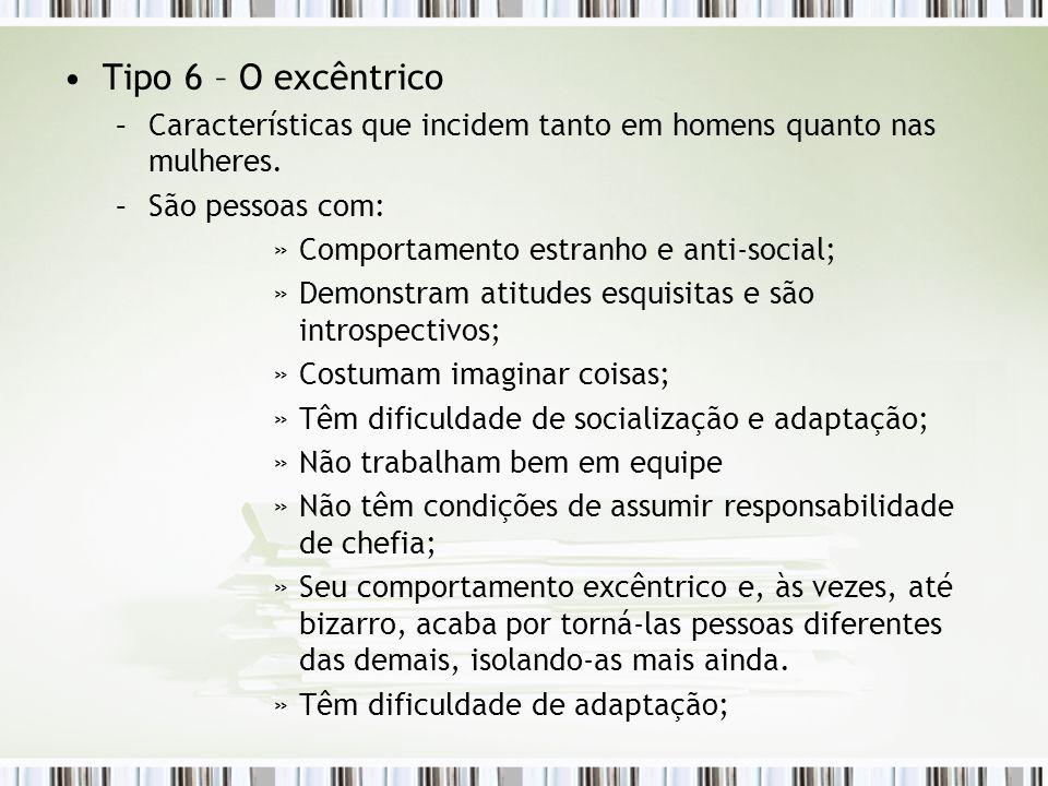 Tipo 6 – O excêntrico Características que incidem tanto em homens quanto nas mulheres. São pessoas com: