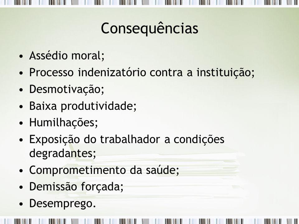 Consequências Assédio moral;