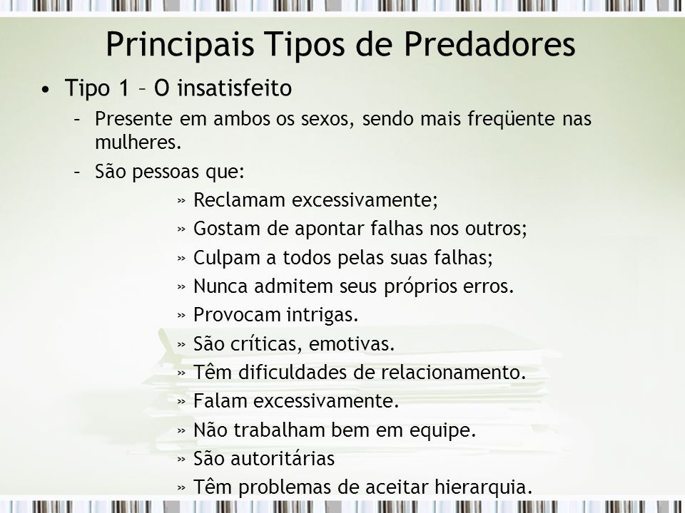 Principais Tipos de Predadores