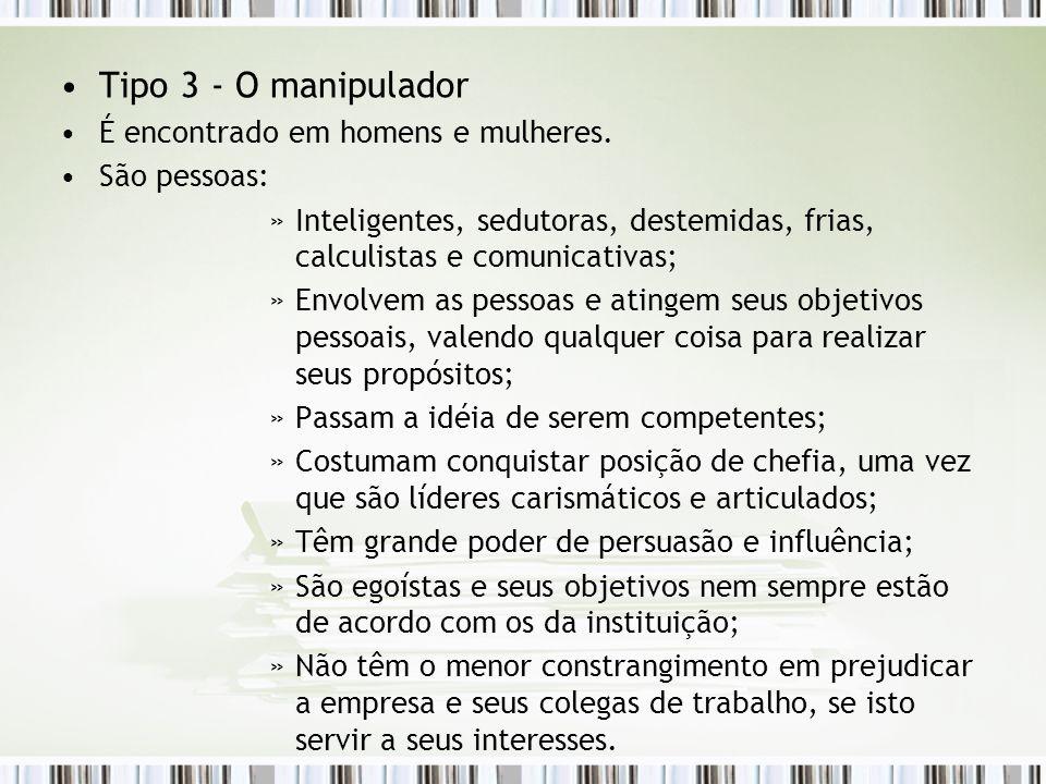 Tipo 3 - O manipulador É encontrado em homens e mulheres. São pessoas: