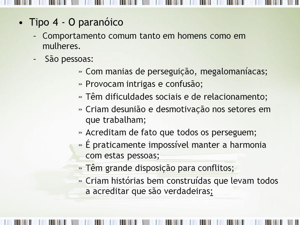 Tipo 4 - O paranóico Comportamento comum tanto em homens como em mulheres. São pessoas: Com manias de perseguição, megalomaníacas;