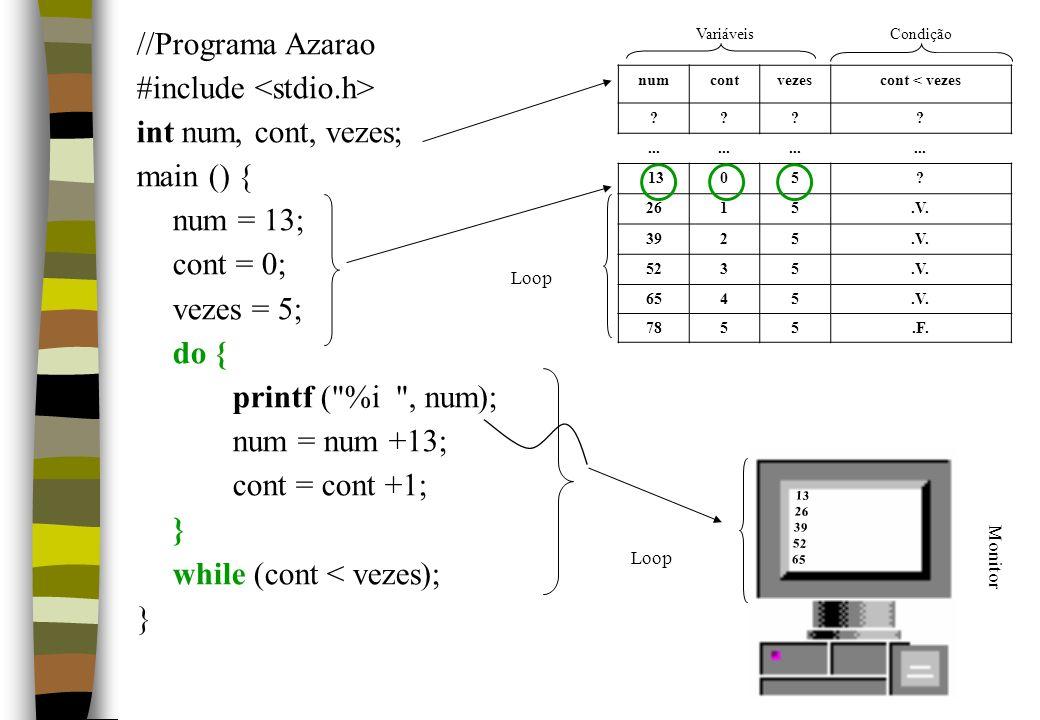 #include <stdio.h> int num, cont, vezes; main () { num = 13;