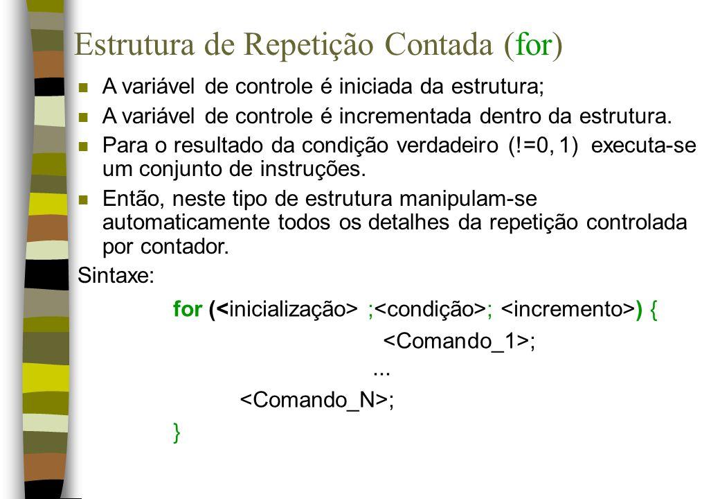 Estrutura de Repetição Contada (for)