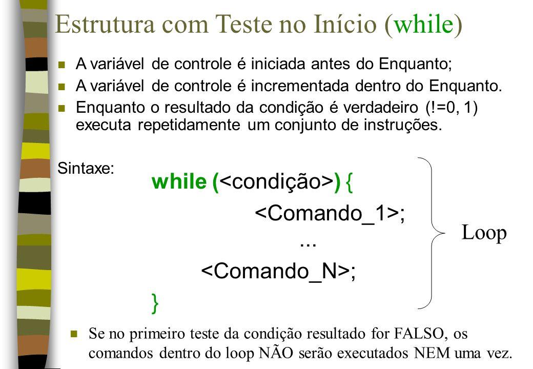 Estrutura com Teste no Início (while)