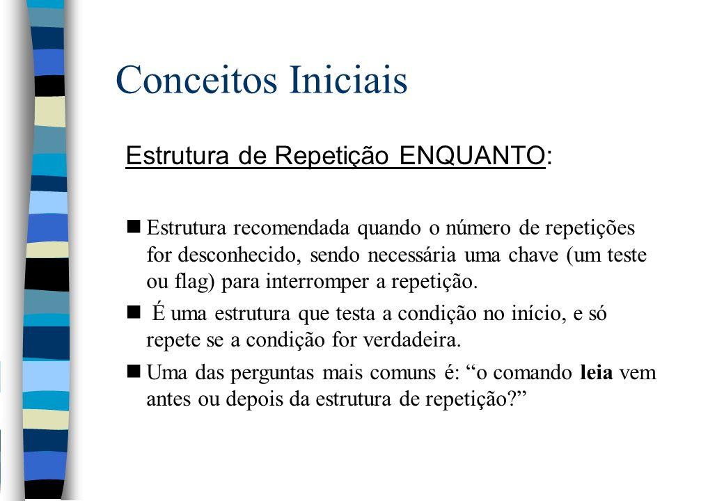 Conceitos Iniciais Estrutura de Repetição ENQUANTO: