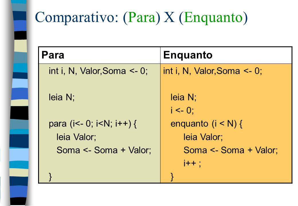 Comparativo: (Para) X (Enquanto)