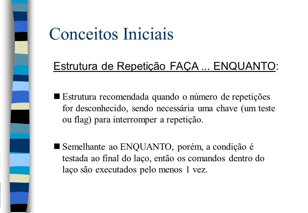 Conceitos Iniciais Estrutura de Repetição FAÇA ... ENQUANTO: