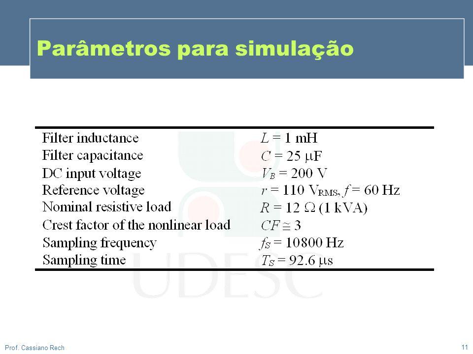 Parâmetros para simulação