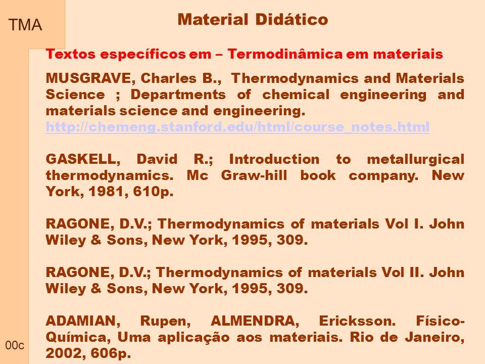 TMA 00c. Material Didático. Textos específicos em – Termodinâmica em materiais.