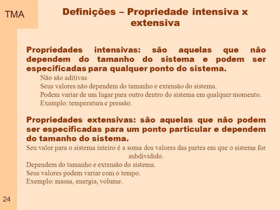 Definições – Propriedade intensiva x extensiva