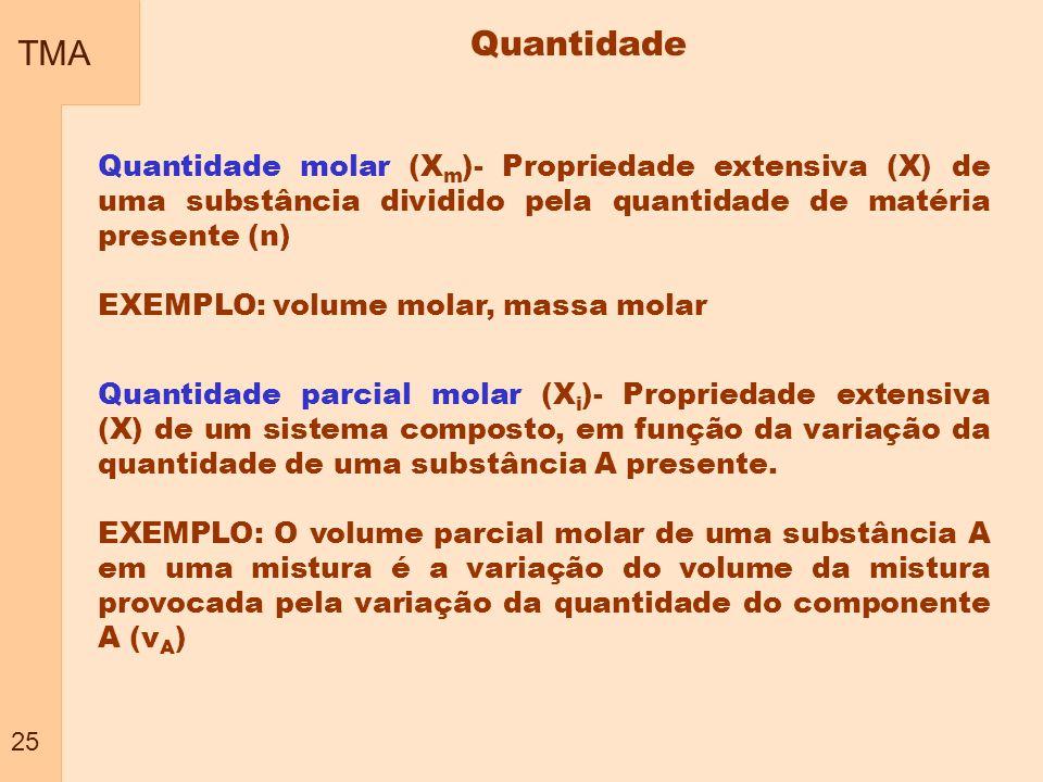TMA 25. Quantidade. Quantidade molar (Xm)- Propriedade extensiva (X) de uma substância dividido pela quantidade de matéria presente (n)