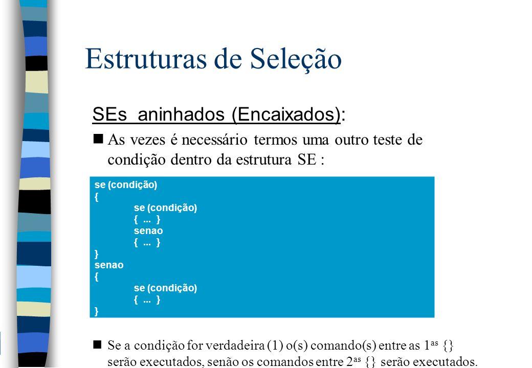 Estruturas de Seleção SEs aninhados (Encaixados):