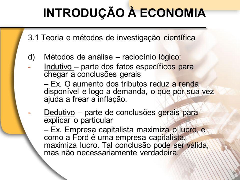 INTRODUÇÃO À ECONOMIA 3.1 Teoria e métodos de investigação científica
