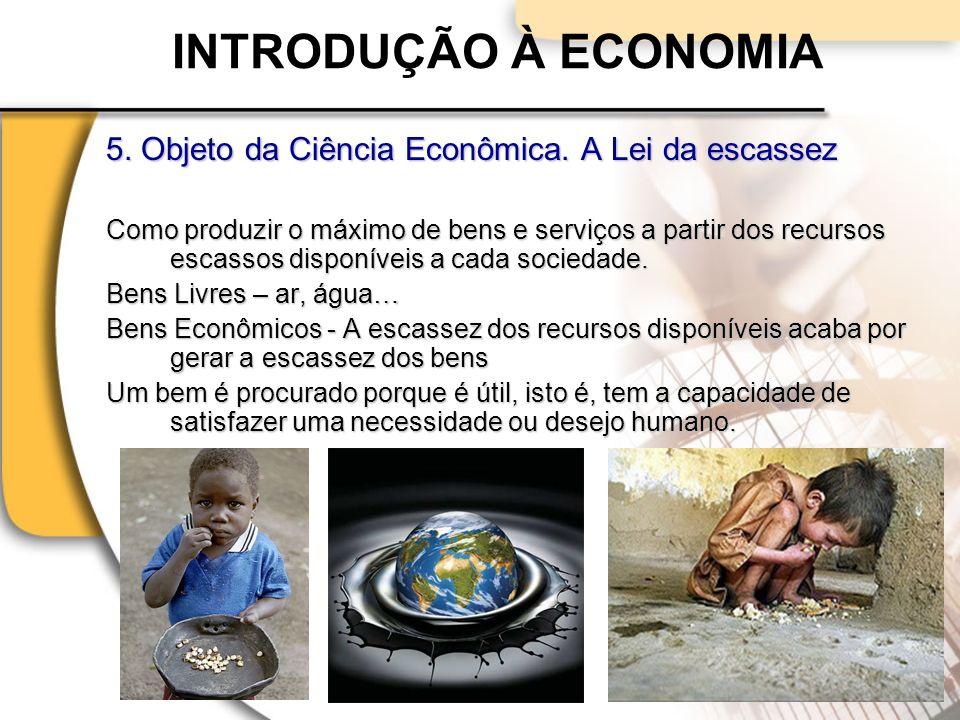 INTRODUÇÃO À ECONOMIA 5. Objeto da Ciência Econômica. A Lei da escassez.