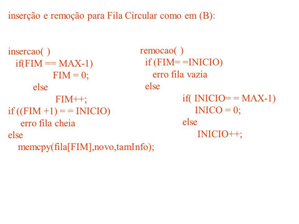 inserção e remoção para Fila Circular como em (B):