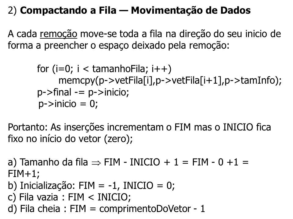 2) Compactando a Fila — Movimentação de Dados