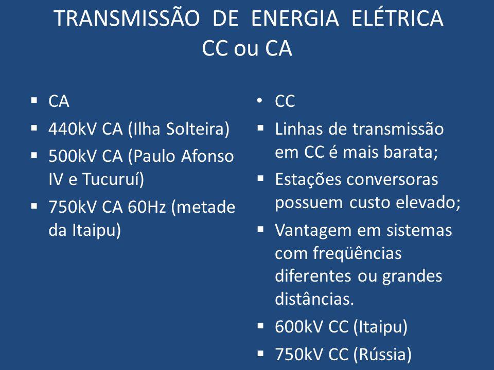 TRANSMISSÃO DE ENERGIA ELÉTRICA CC ou CA