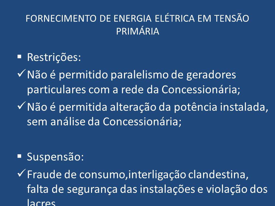 FORNECIMENTO DE ENERGIA ELÉTRICA EM TENSÃO PRIMÁRIA