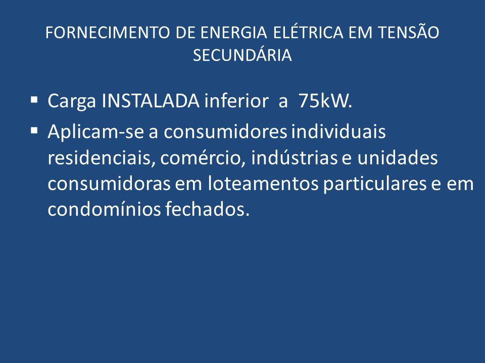 FORNECIMENTO DE ENERGIA ELÉTRICA EM TENSÃO SECUNDÁRIA