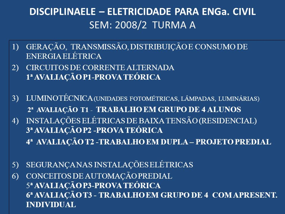 DISCIPLINAELE – ELETRICIDADE PARA ENGa. CIVIL SEM: 2008/2 TURMA A
