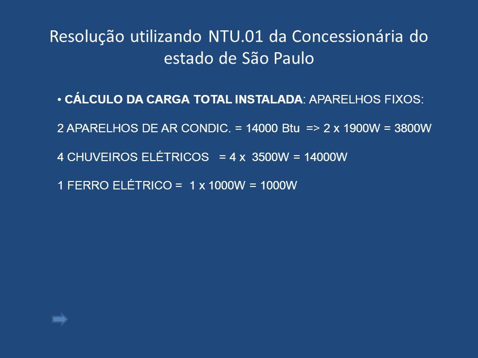 Resolução utilizando NTU.01 da Concessionária do estado de São Paulo