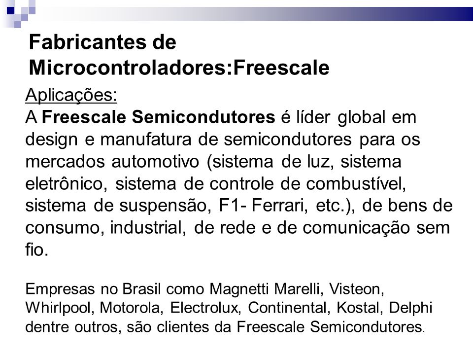 Fabricantes de Microcontroladores:Freescale